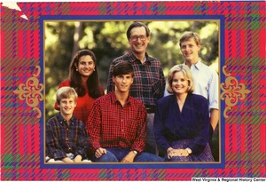 "[""The 1989 Rockefeller family holiday card reads, \""Wishing you a joyous holiday season.\"" Pictured are Jay, Sharon, Valerie, John, Charles, and Justin Rockefeller. On the back is an unofficial seal of the United States Senate.""]%"