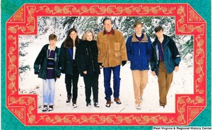 "[""The 1994 Rockefeller family holiday card reads, \""Warmest greetings for the 1994 holiday season.\"" Pictured are Jay, Sharon, Valerie, John, Charles, and Justin Rockefeller. On the back is an unofficial seal of the United States Senate.""]%"