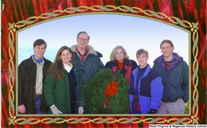 "[""The 1995 Rockefeller family holiday card reads, \""Peace and joy.\"" Pictured are Jay, Sharon, Valerie, John, Charles, and Justin Rockefeller. On the back is an unofficial seal of the United States Senate.""]%"