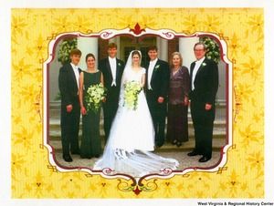 "[""The 1996 Rockefeller family holiday card reads, \""We are delighted to share the highlight of our year, John's marriage to Emily, as our family comes together to wish you a joyful holiday season.\"" Pictured are Jay, Sharon, Valerie, John, Emily, Charles, and Justin Rockefeller. Photograph by Tracey Attlee LLC.""]%"