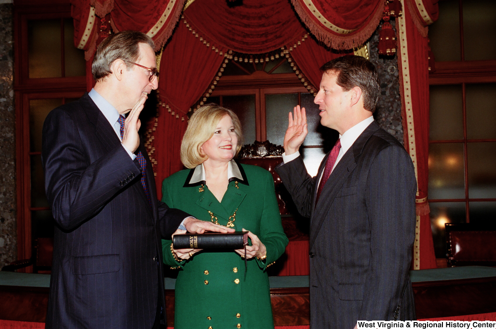 "[""Vice President Al Gore administers the oath of office to Senator John D. (Jay) Rockefeller.""]%"