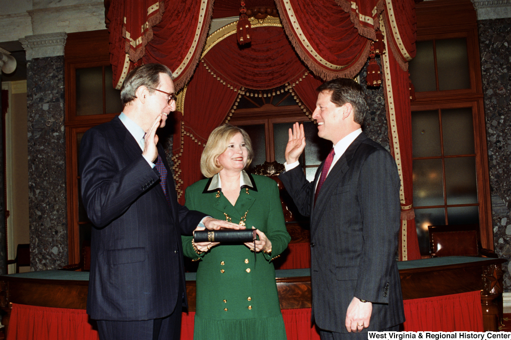 "[""Senator John D. (Jay) Rockefeller takes the oath of office for his third term.""]%"