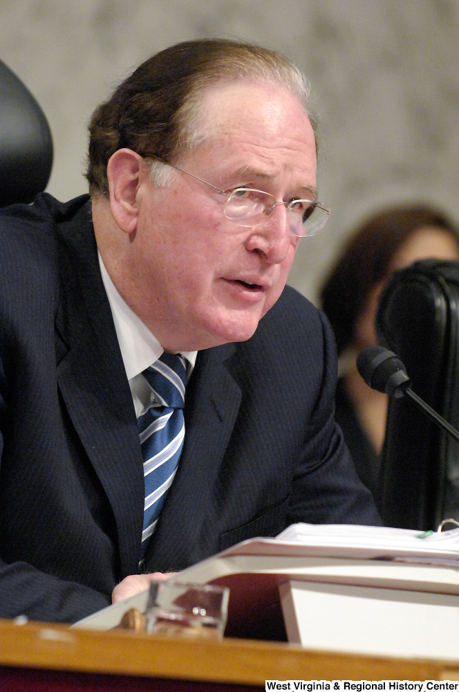 "[""Senator John D. (Jay) Rockefeller listens to testimony at a Senate Intelligence Committee hearing.""]%"