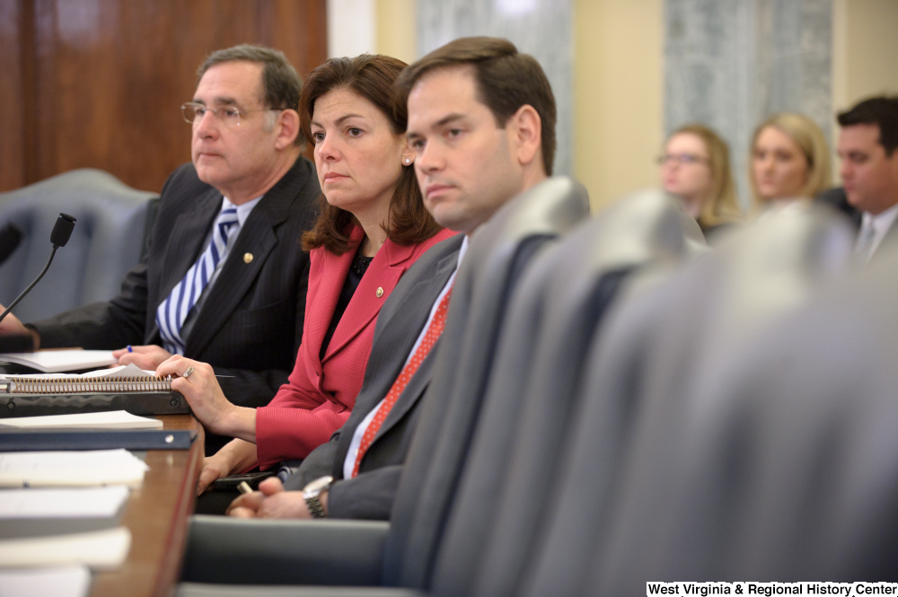 "[""Senators Marco Rubio, Kelly Ayotte, and John Boozman listen to testimony during a Senate Commerce Committee hearing titled \""Safeguarding Our Future: Building a Nationwide Network for First Responders.\""""]%"