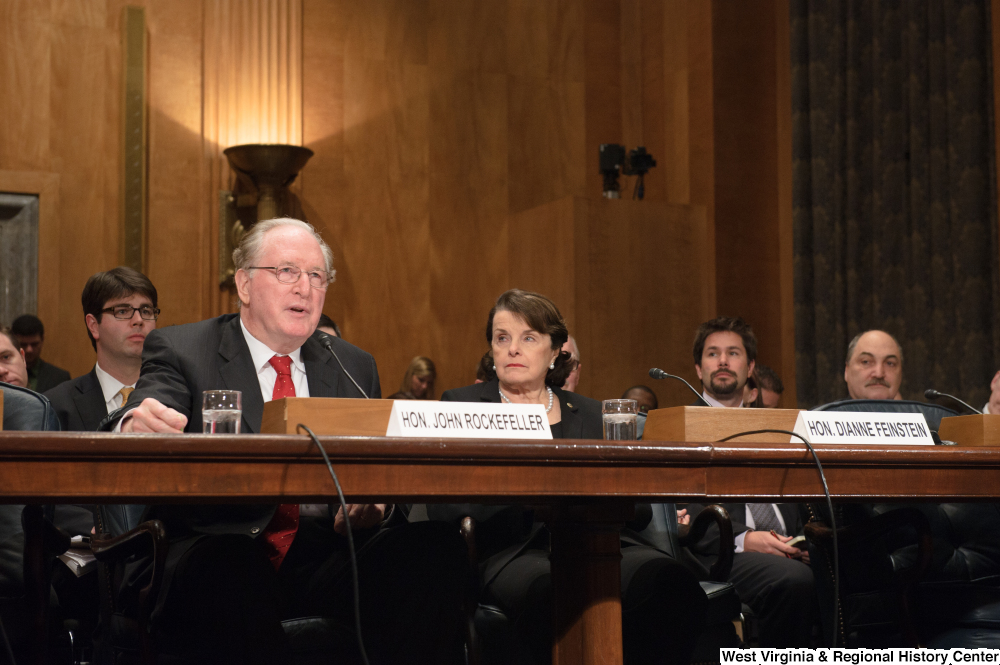 "[""Senators John D. (Jay) Rockefeller and Dianne Feinstein at a Homeland Security hearing.""]%"