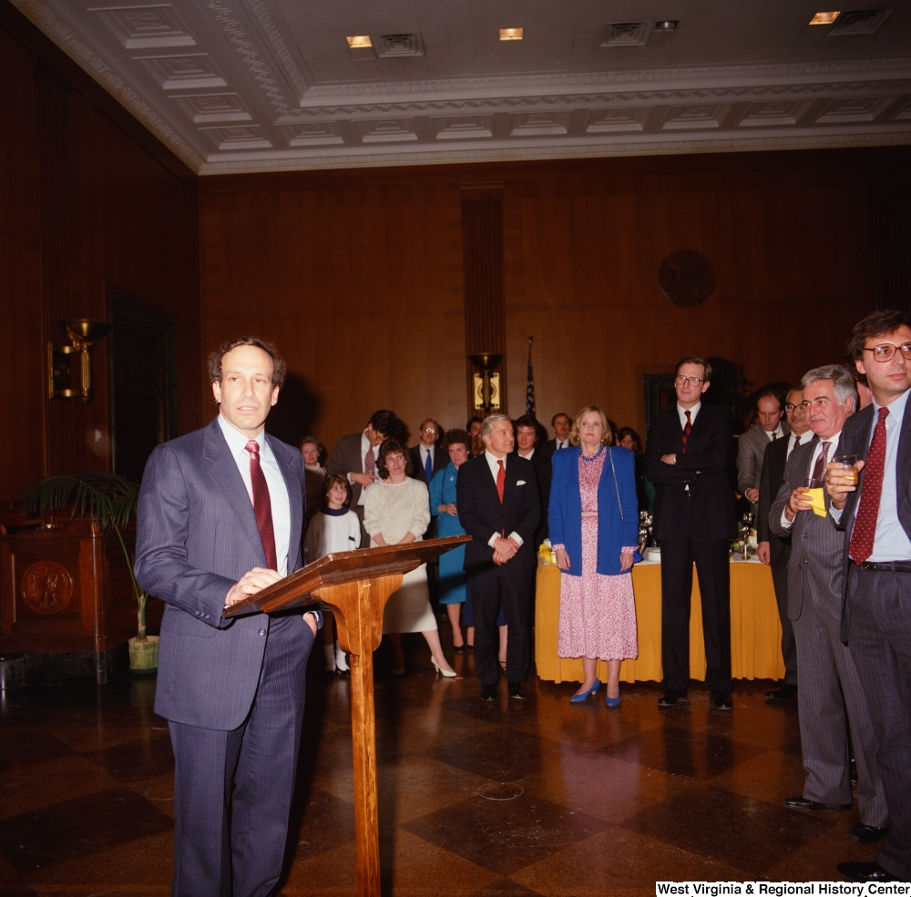 "[""One of Senator John D. (Jay) Rockefeller's staffers addresses the audience at an event in the Senate.""]%"