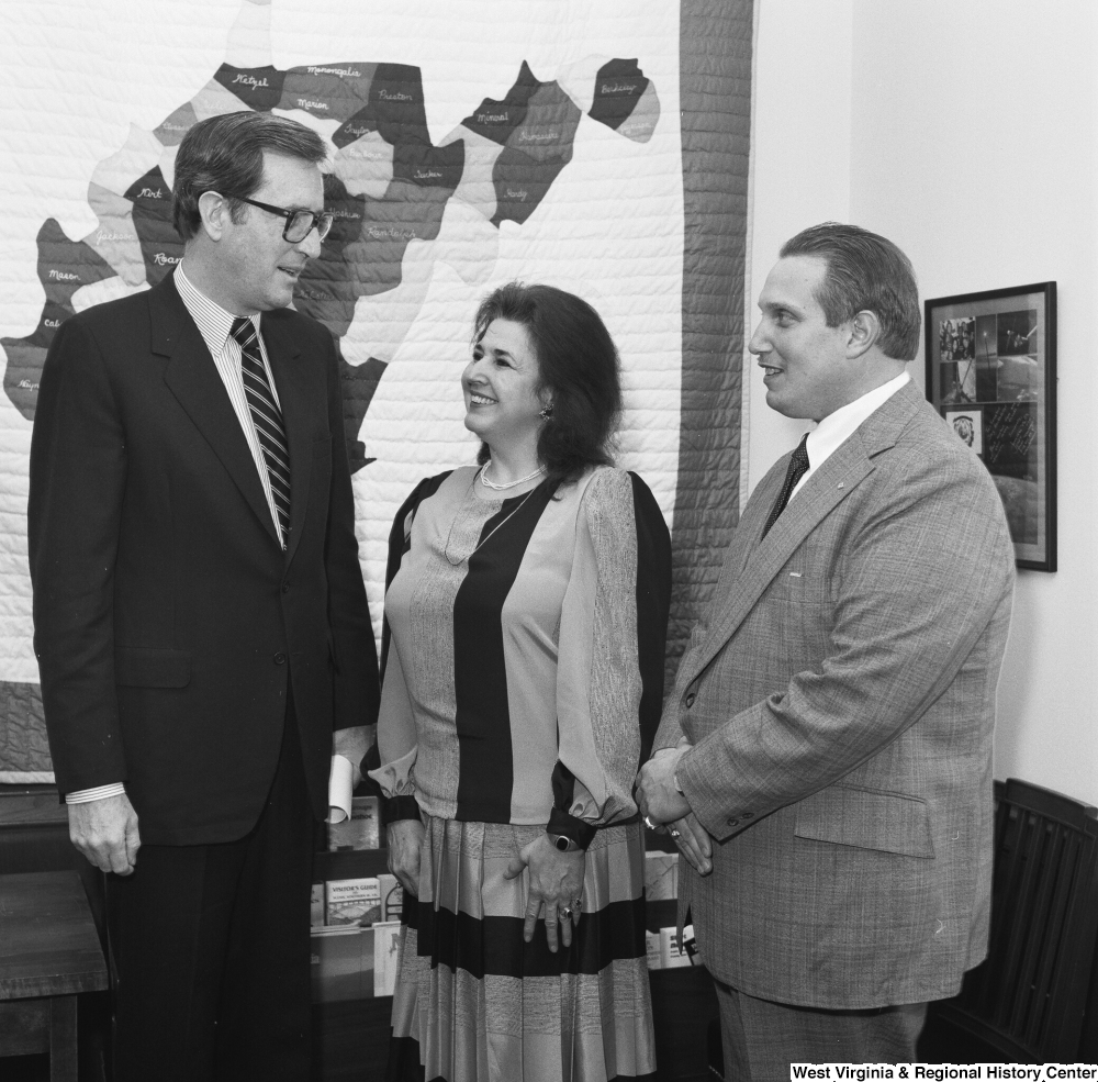 "[""Senator John D. (Jay) Rockefeller speaks with a representative of the Department of Employment Security and Elkins Iron in his Washington office.""]%"