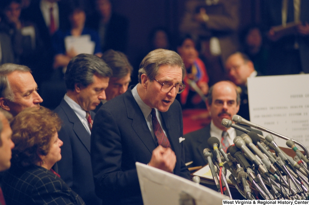 "[""Senator John D. (Jay) Rockefeller speaks at a press event for the U.S Bipartisan Commission on Comprehensive Health Care (The Pepper Commission).""]%"