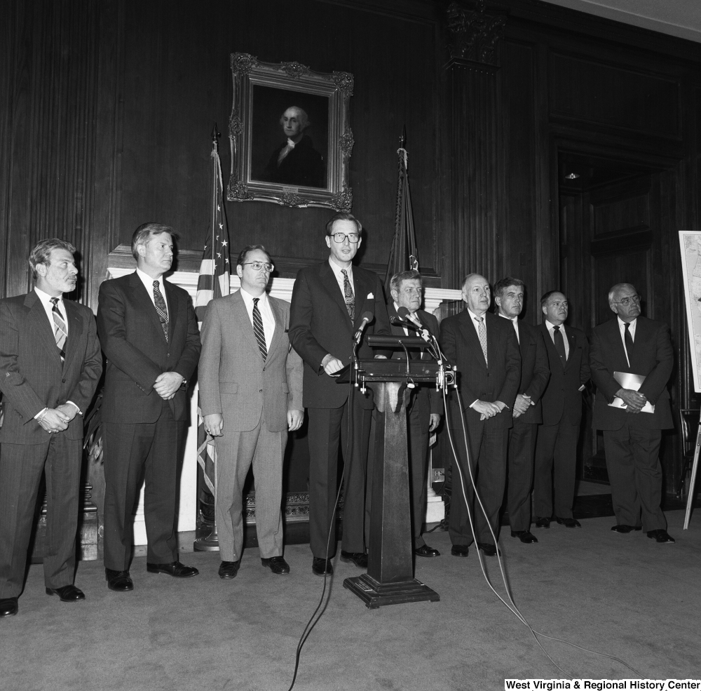 "[""Senator John D. (Jay) Rockefeller standing with members of the Coalition for a Competitive America.""]%"