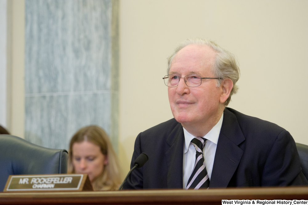 "[""Senator John D. (Jay) Rockefeller sits at a Commerce Committee hearing.""]%"