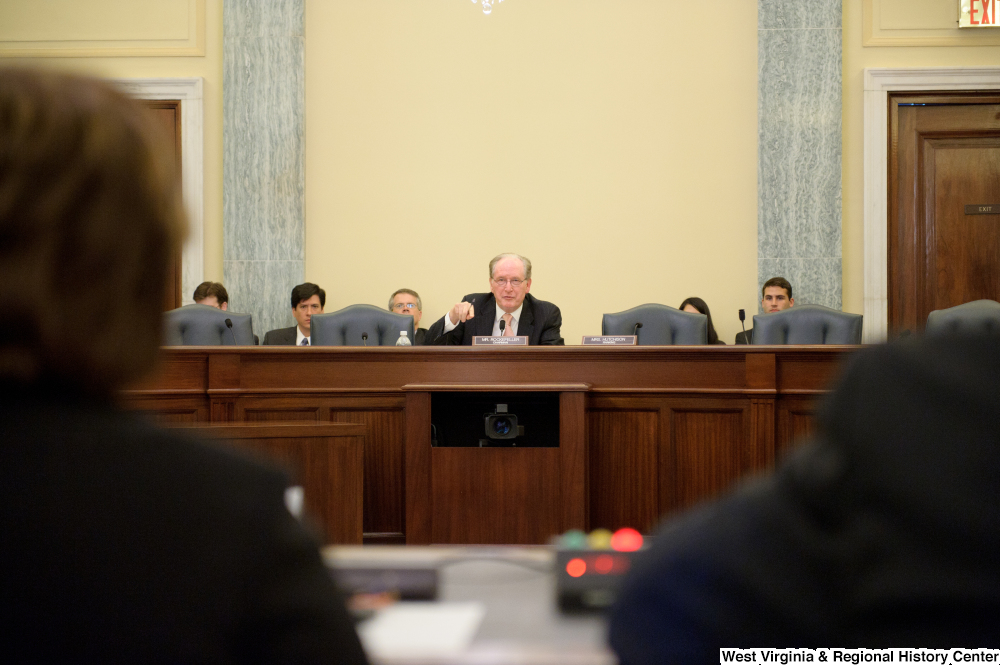 "[""Senator John D. (Jay) Rockefeller chairs a Commerce Committee hearing.""]%"