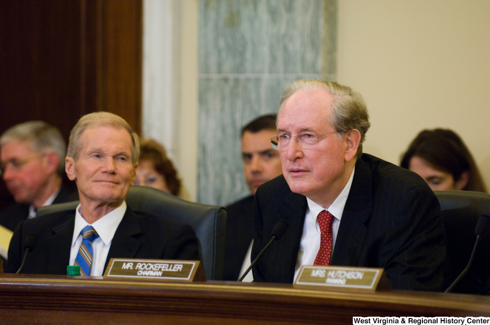"[""Senator John D. (Jay) Rockefeller and Senator Bill Nelson listen to testimony at a Commerce Committee hearing.""]%"