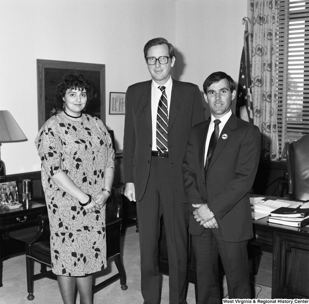 "[""Two representatives from the RESULTS organization pose for a photograph with Senator John D. (Jay) Rockefeller in his Washington office. RESULTS is a grassroots citizens' lobby that fights to end hunger""]%"