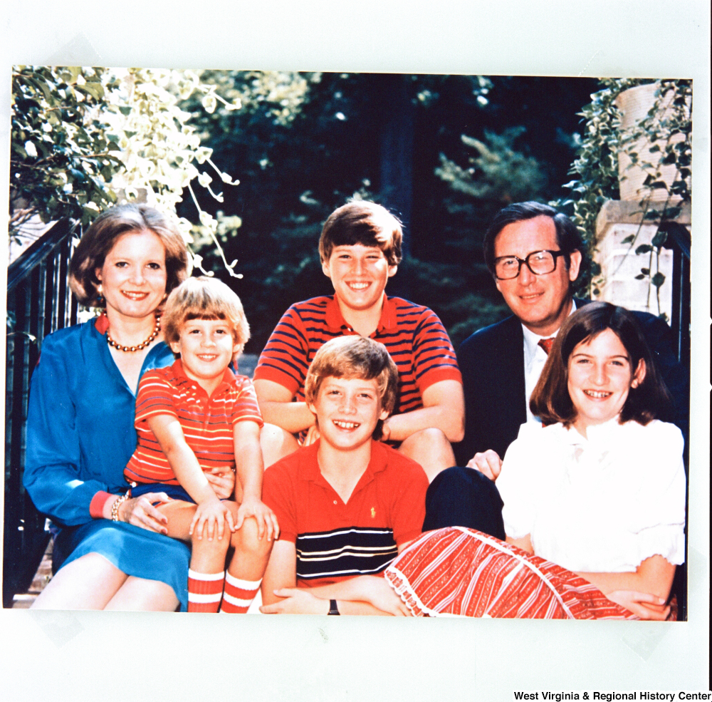 "[""This is a photograph of the photo that the Rockefeller family used in their 1984 Holiday Card. Senator John D. (Jay) Rockefeller is joined by his wife Sharon and their children Jamie, Valerie, Charles, and Justin.""]%"