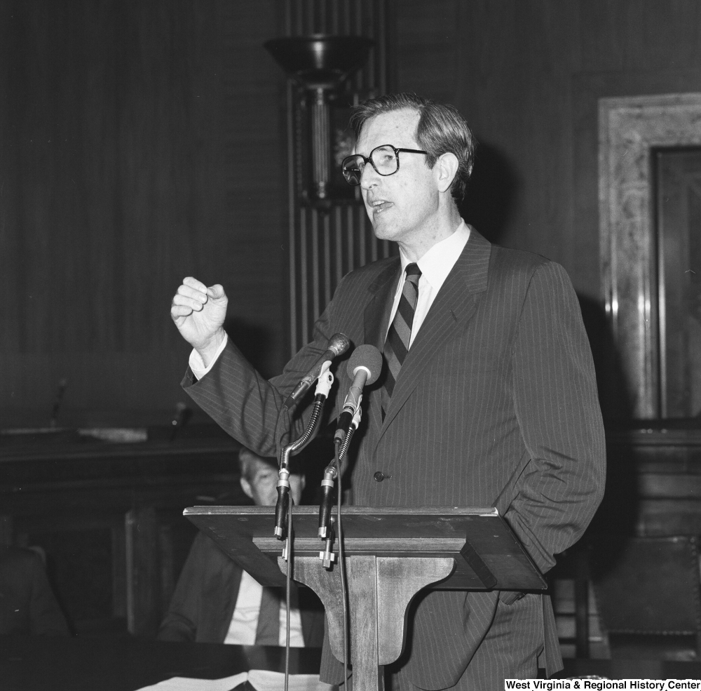 "[""This close-up image shows Senator John D. (Jay) Rockefeller speaking at a press event for the Veterans Affairs Committee.""]%"