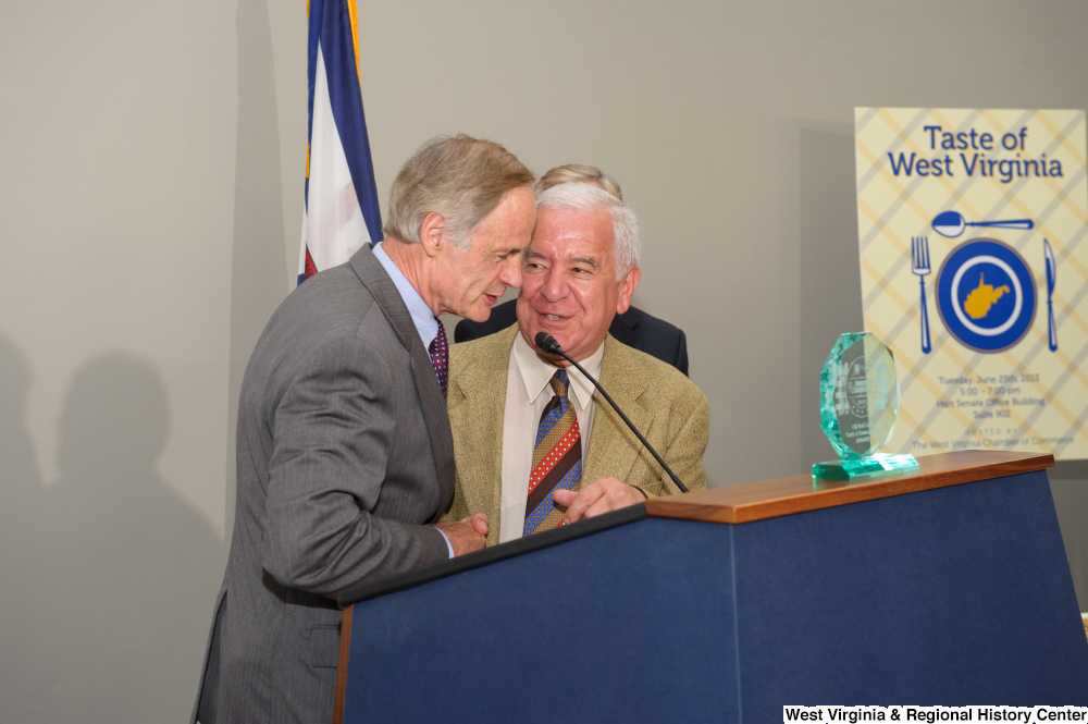 "[""Senator Tom Carper and Representative Rahall speak at the 150th birthday celebration for West Virginia.""]%"