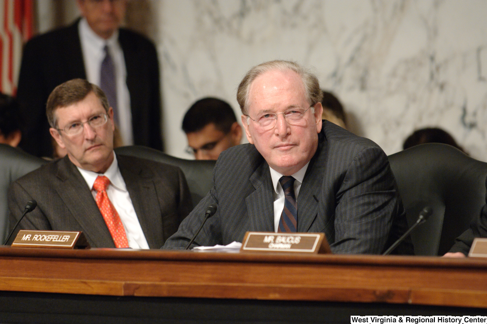 "[""Senator John D. (Jay) Rockefeller listens to testimony during a Senate Finance Committee hearing.""]%"