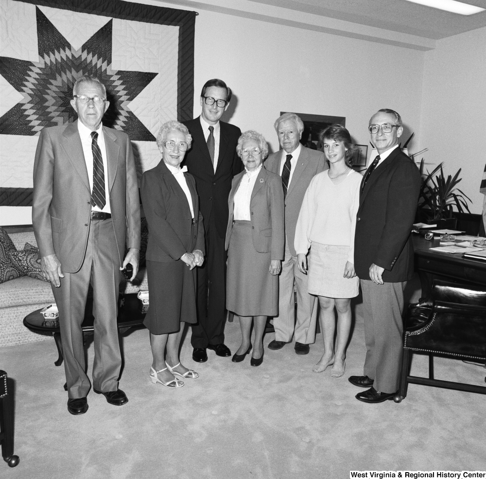"[""An unidentified group stands for a photograph with Senator John D. (Jay) Rockefeller in his Washington office.""]%"