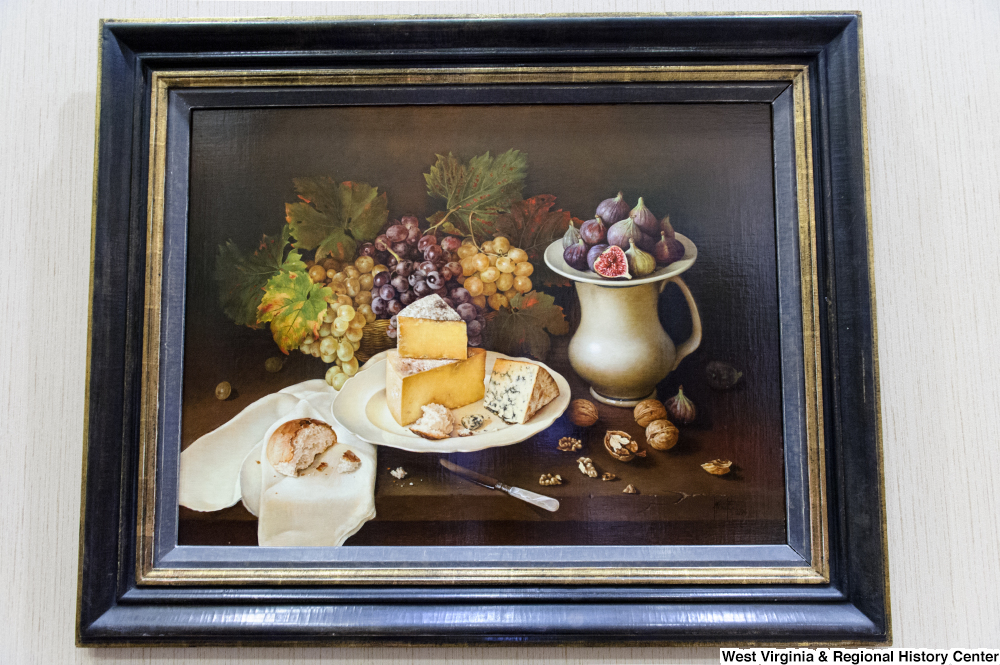 "[""A still life painting of food hangs on the wall in Senator John D. (Jay) Rockefeller's office.""]%"