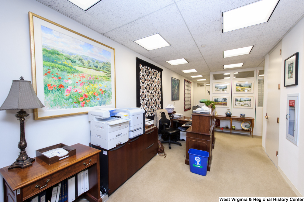 "[""This photo shows some of the staff desks in Senator John D. (Jay) Rockefeller's office.""]%"