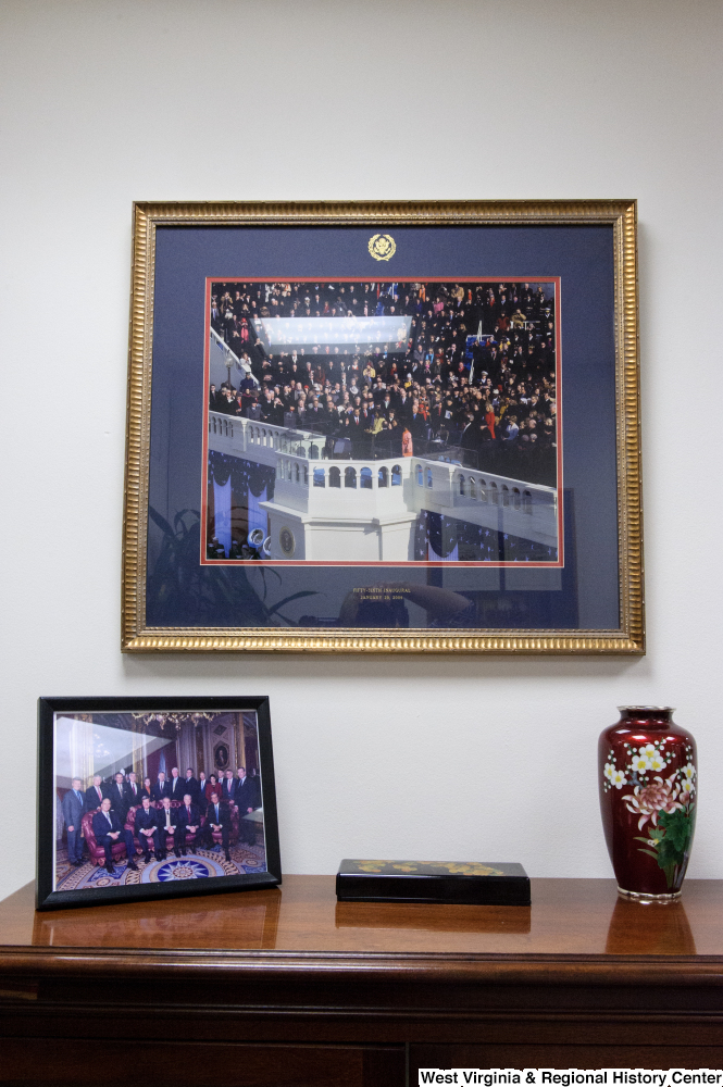 "[""A framed photograph of President Obama's first inaugural hangs in the conference room in Senator John D. (Jay) Rockefeller's office.""]%"