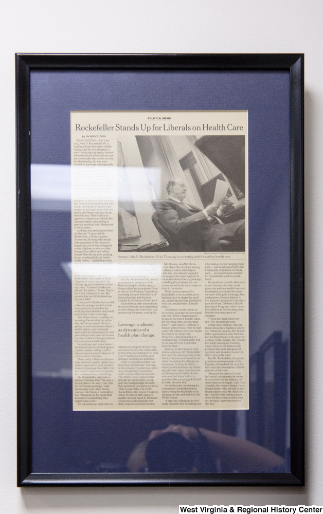 "[""A framed article about Senator Rockefeller and his health care advocacy hangs in his office.""]%"