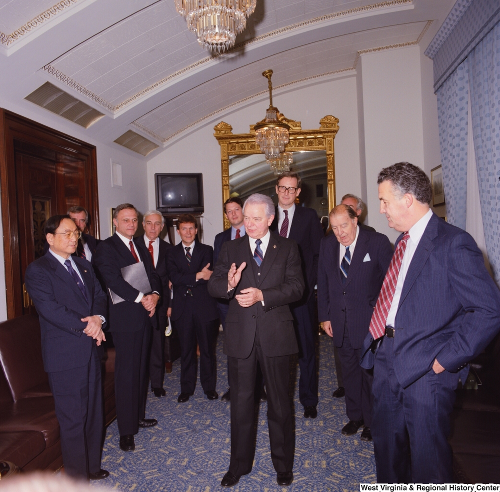 "[""Senator Robert C. Byrd speaks to the group of Senate colleagues that have gathered to celebrate his birthday.""]%"