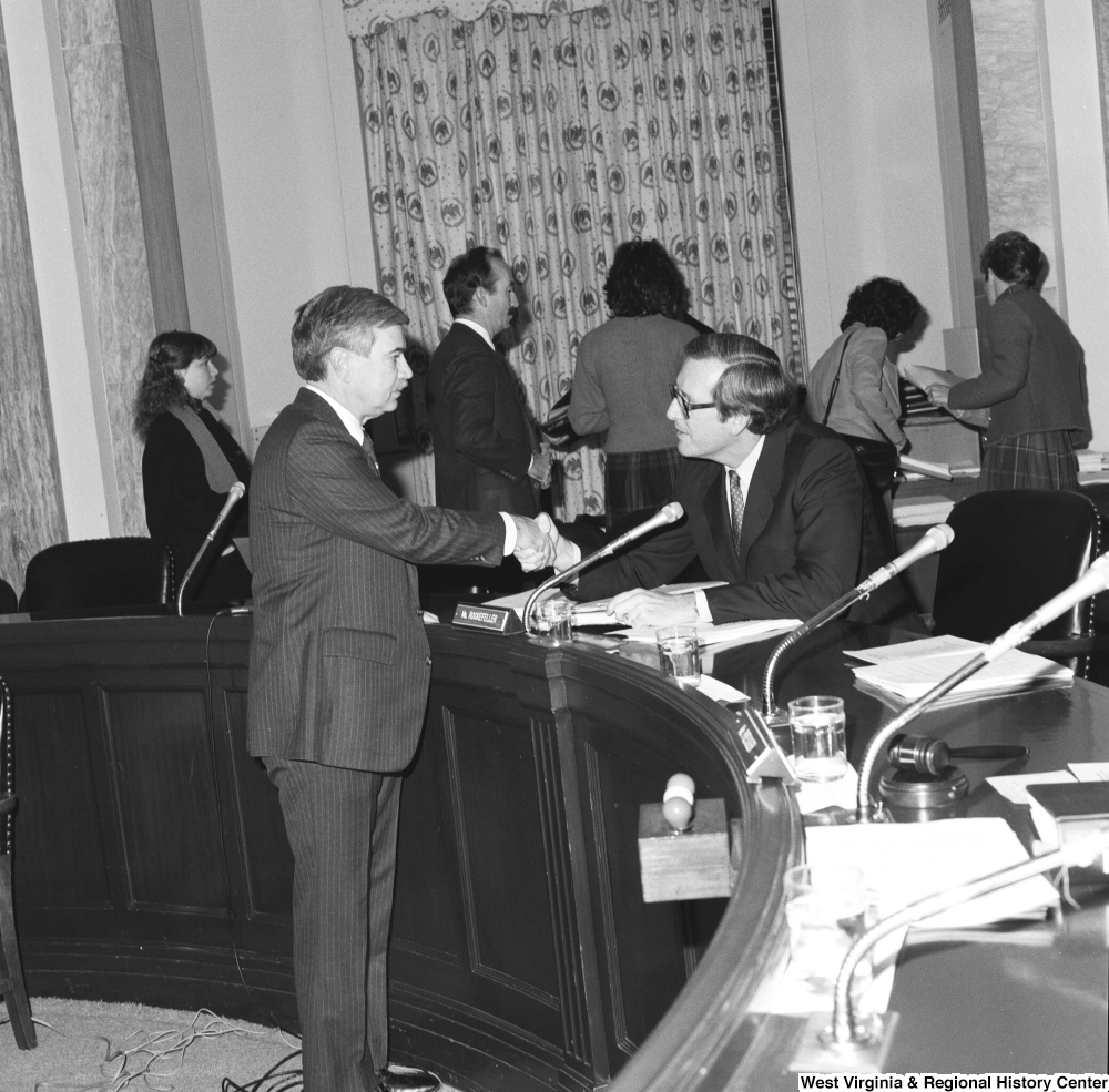 "[""Senator John D. (Jay) Rockefeller shakes hands with the mayor of Nitro, West Virginia following a Senate Commerce Committee hearing. The mayor was invited to testify about how liability insurance was hurting towns and counties throughout West Virginia.""]%"