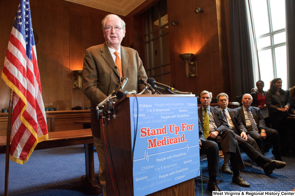 "[""Senator John D. (Jay) Rockefeller speaks at a Stand Up for Medicaid event.""]%"